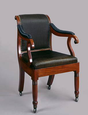 Late Federal style mahogany chair with black horsehair upholstery used by Chief Justice John Marshall.