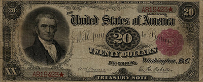 A $20 Treasury Note from 1890 featuring a portrait of Chief Justice John Marshall.