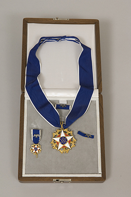 Presidential Medal of Freedom presented to Justice Sandra Day O'Connor, 2009. This medal represents the nation's highest civilian honor presented to individuals who have made especially meritorious contributions to the security or national interests of the United States, to world peace, or to cultural or other significant public or private endeavors.