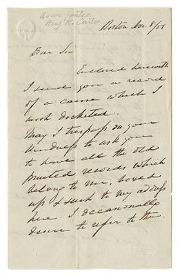 Letter from former Justice Benjamin R. Curtis to Clerk William T. Carroll, November 8, 1858.