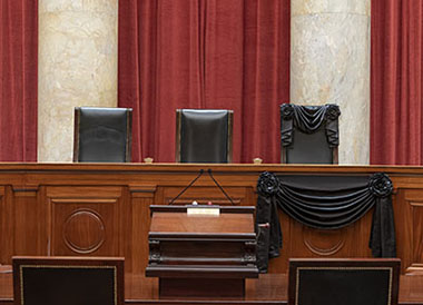 The Bench draped for the death of Associate Justice Ruth Bader Ginsburg, September 2020.