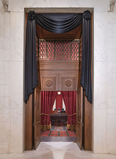 The Courtroom doors draped for the death of Associate Justice Ruth Bader Ginsburg, September 2020.