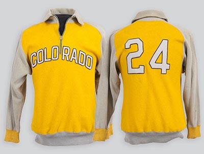 Front and back sides of Byron R. White's warm-up jacket from the University of Colorado basketball team, 1938