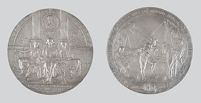 Two-sided sterling silver Hudson-Fulton celebration medal designed by artist Emil Fuchs (1866-1929) and presented to Governor Charles Evans Hughes.