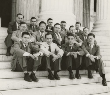 Supreme Court law clerks, including future Justice John Paul Stevens (middle row, second to right), 1947.