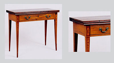 The table relies on intricate inlays for its decoration. Stylized floral motifs are featured within ovals on either side of the drawer, and bell flowers, associated with Baltimore furniture of the period, adorn each tapered leg.