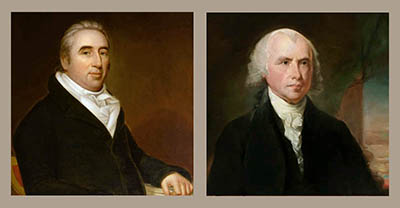 William Marbury (left), by unknown artist. James Madison (right) by Adrian Lamb, after Gilbert Stuart.