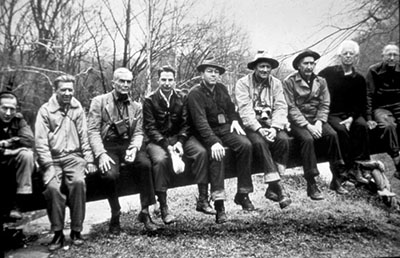 "Only nine hikers, known as ""The Immortal Nine,"" hiked the entire distance, which took eight days and occurred March 20-28, 1954.  Justice Douglas is fourth from the right."