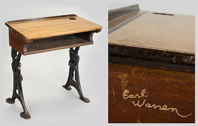 "Earl Warren's ""Victor 3"" adjustable elementary school desk made by Thomas Kane & Company of Racine, Wisconsin. Detail of Warren's signature (right)."
