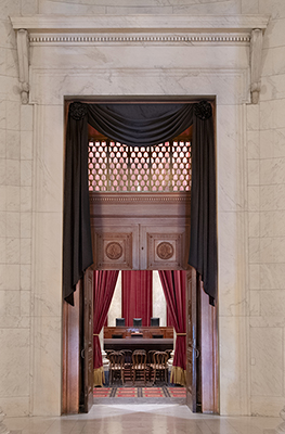 The Courtroom doors draped for the death of Retired Justice John Paul Stevens, 2019.
