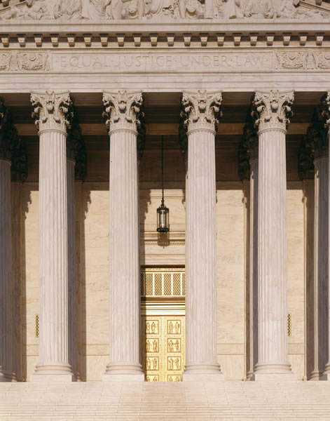 "Detail of main portico of the Supreme Court Building with ""Equal Justice Under Law"" carved above.  (Franz Jantzen)"