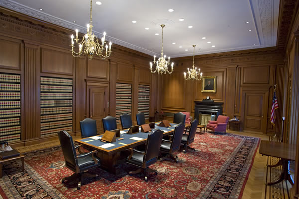 The Justices' Conference Room, where the Justices meet in private to discuss cases.  (Steve Petteway)