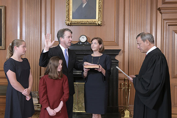 Chief Justice Roberts administers the Constitutional Oath to Judge Kavanaugh